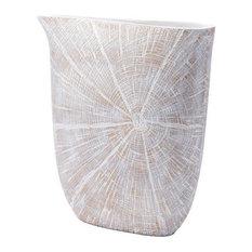 White Poly Jar, Large, Antique Beige