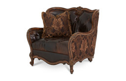 Lavelle Melange Leather and Fabric Chair and a Half