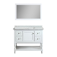 "Cape Cod 42"" White Bathroom Vanity, With Mirror"