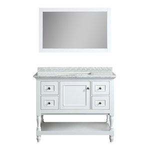 "Cape Cod 42"" White Bathroom Vanity, With Mirror"