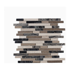 """12.06""""x12.06"""" Byron Mosaic Wall and Floor Tiles, Wooden Marble Mix, Set of 10"""