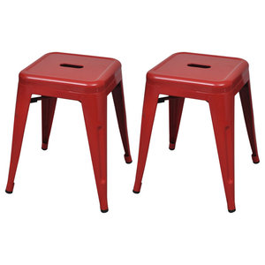 Small Metal Stools, Red, Set of 2