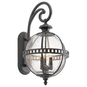3-Light Traditional Seeded Glass Wall Lantern, Bronze