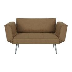 Mid Century Sleeper Sofa, Metal Angled Legs With Tufted Cushioned Seat, Tan