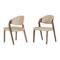 Modrest Arlo Modern Beige and Walnut Dining Chairs, Set of 2