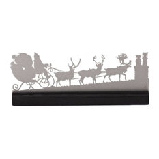 Valerie Atkisson Design - Mantel Victorian Santa Scene, Brushed Steel - Holiday Accents and Figurines