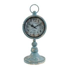 Antiqued Metal Pedestal Clock