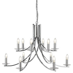 Ascona Ceiling Pendant, 12-Light Twisted With Clear Glass, Polished Chrome