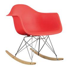 Rocker Plastic Lounge Chair, Red