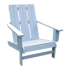 Acacia Large Square Back Adirondack Chair with Antique White Finish, Sky Blue
