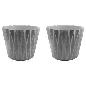 Geometric Planter, Set of 2, Cool Grey