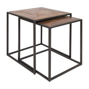Kane Wood and Metal Nesting Tables, Set of 2
