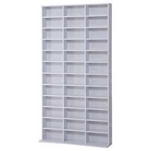 Contemporary Stylish Storage Rack, Particle Board With Adjustable Shelves, White