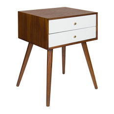 Finco Two Drawer Wood Nighstand Side Table, Walnut Brown and White