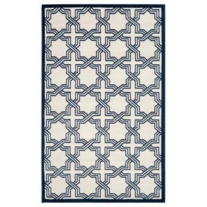 Barcares Ivory and Navy Indoor/Outdoor Rug, 152x243 cm