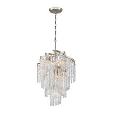 Corbett Mont Blanc 9-Light Traditional Chandelier in Modern Silver Leaf
