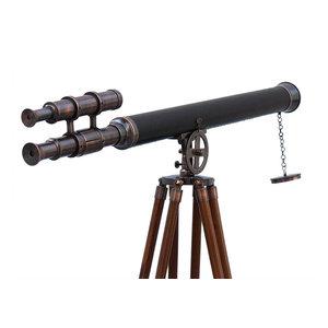 Floor Standing Antique Copper Leather Griffith Astro Telescope 65''