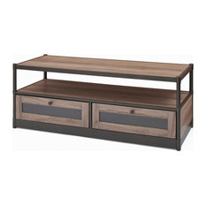 Rustic Coffee Table With 2 Bottom Drawers Washed Oak Finish