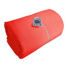 Amandine Linen Flat Sheet, Coral, 180x290 cm