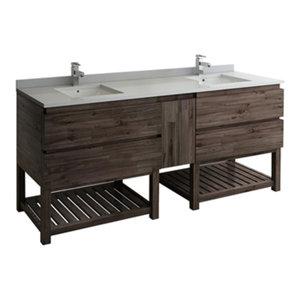 """Formosa 84"""" Floor Standing Open Bottom Double Sink Bathroom Cabinet/Top & Sinks"""