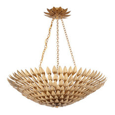 Crystorama Broche Bowl Chandelier, Antique Gold