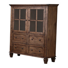 New Classic   Classic Furniture Sutton Manor China Cabinet, Distressed Oak    China Cabinets And