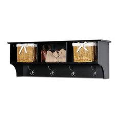 prepac furniture sonoma wallmounted cubby shelf and coat rack black wall