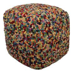Nancy Wool Felt Multicolored Pouf