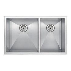 "33"" X 20"" Zero Radius 60/40 Double Bowl Stainless Steel Undermount Kitchen Sink"