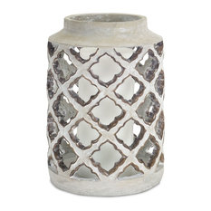 "Candle Holder 12.25""H Cement"