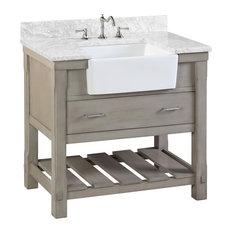 """Charlotte Bathroom Vanity, Weathered Gray, 36"""", Carrara Marble Top, Single Sink"""