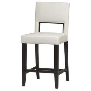 """Pemberly Row 24"""" Faux Leather Counter Stool in Off White and Espresso"""