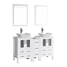 "60"" Bosconi Double Vanity, White"