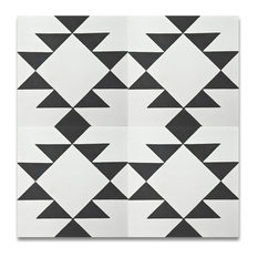 """MoroccanMosaicTile House - 8""""x8"""" Rissani Handmade Cement Tile, Black and White, Set of 12 - Wall and Floor Tile"""