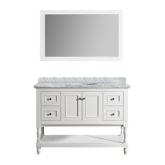 "Cape Cod 48"" White Bathroom Vanity, With Mirror"