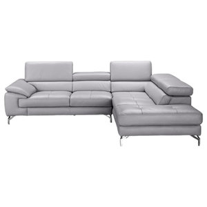 Olivia Premium Leather Sectional Sofa, Element Gray, Right Hand Facing Chaise
