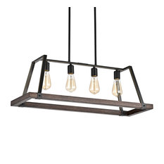 4-Light Wood and Oil Rubbed Bronze Island Chandelier
