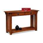 8233, Solid Ash Sofa Table, Medium Oak Finish