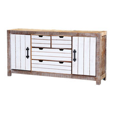 Elmore Modern Distressed Reclaimed Wood 4 Drawer Large Sideboard
