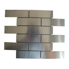 "11.81""x11.81"" Sub Way Stainless Steel Subway Metal Backsplash Wall Bath Tile"