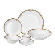 24 Piece Fine Wavy Edge Porcelain Dinnerware Set, Amelia design, Catherine