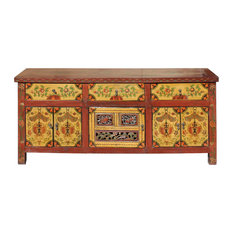 Chinese Tibetan Jewel Flower Graphic Low Credenza Shoes Cabinet Hcs4603