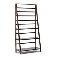Rustic Bookcase, Ladder Design With 5 Open Shelves, Dark Brunette Brown Finish