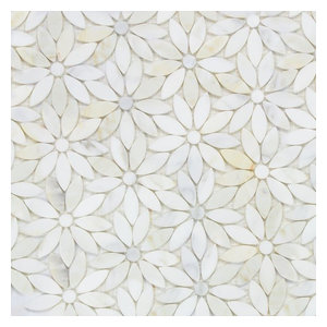 Flower Pattern Natural Stone Mosaic Tiles Polished, Calcatta Gold, 10.56