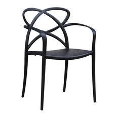 Fine Mod Imports Script Dining Chair, Black