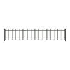 Ornamental Security Palisade Fence Steel Black Pointed Top 2'