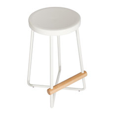 """Sauder Boutique 24"""" Backless Metal Counter Stool in White"""