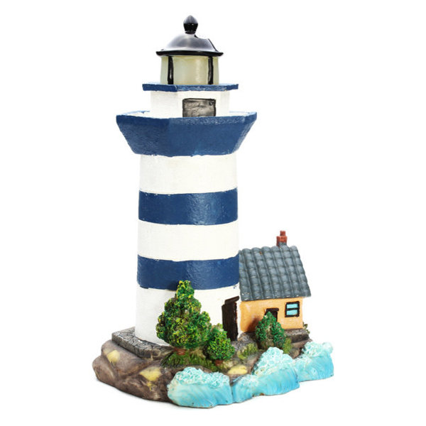 Solar Power Resin Lighthouse Decoration LED Light For Garden Park Yard