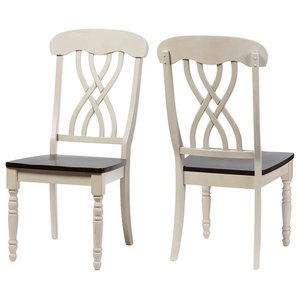 Newman Chic Country Oak Wood and Distressed White Dining Side Chair, Set of 2
