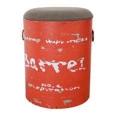 Antiqued Upholstered Storage Stool, Orange